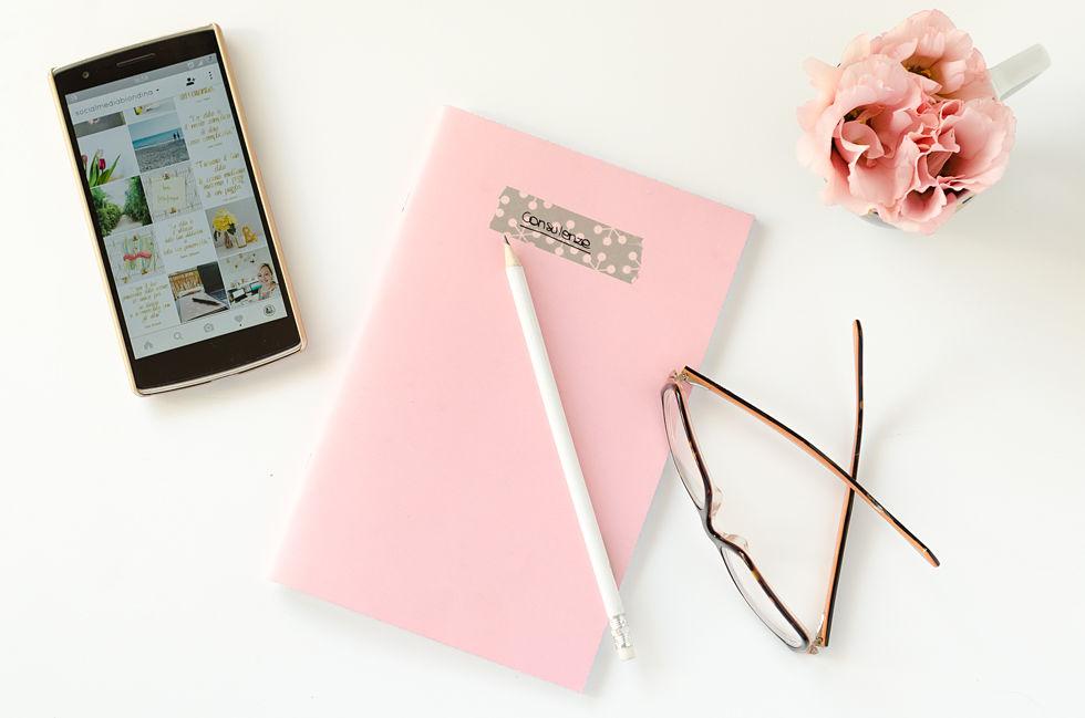 quaderno e fiori rosa silvia Lanfranchi