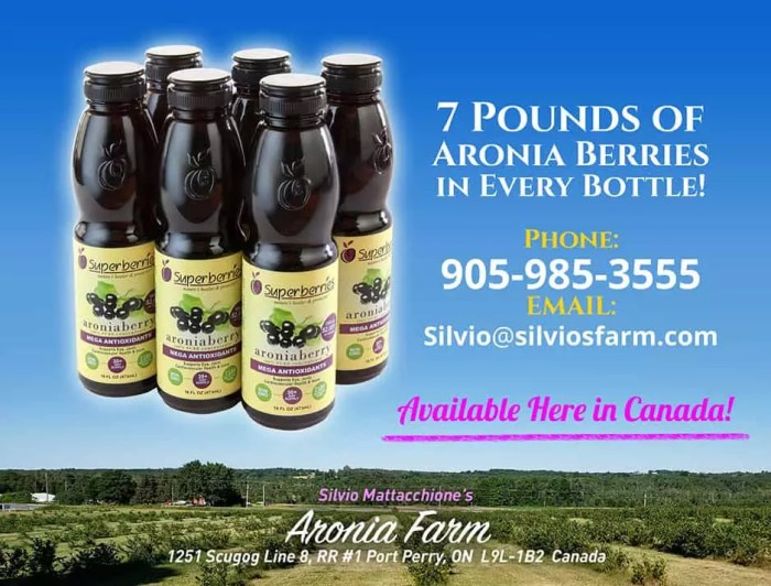 Aronia Concentrate Available at Silvio's Farm in Port Perry ON