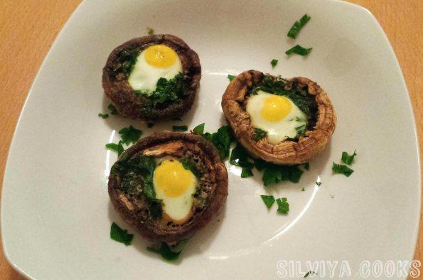 Печени гъби с пъдпъдъчи яйца