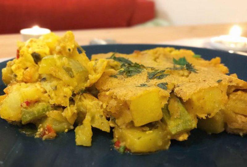 Зеленчукова веган мусака с тофу и заливка от нахут