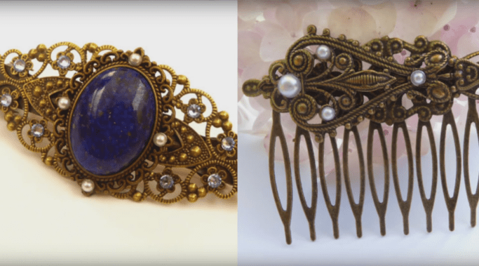 Examples of a hair barrette and hair comb from Schmucktruhe
