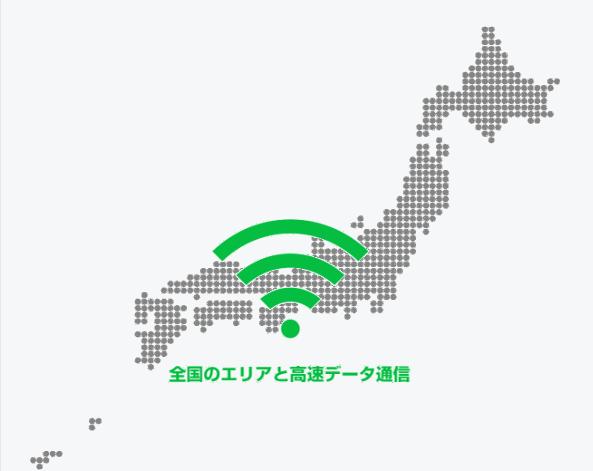 全国のエリアと高速データ通信