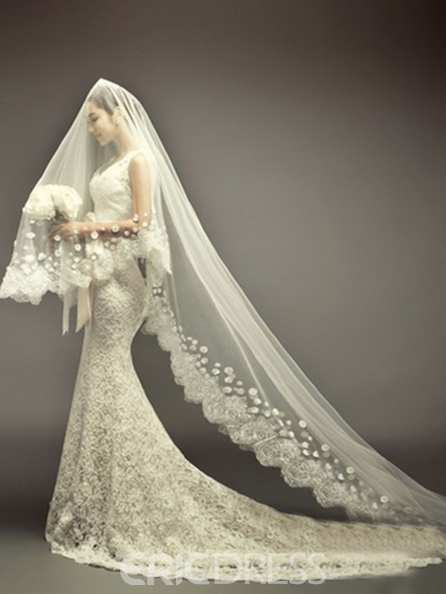 Cathedral Length Ivory Lace Wedding Veil 10924310