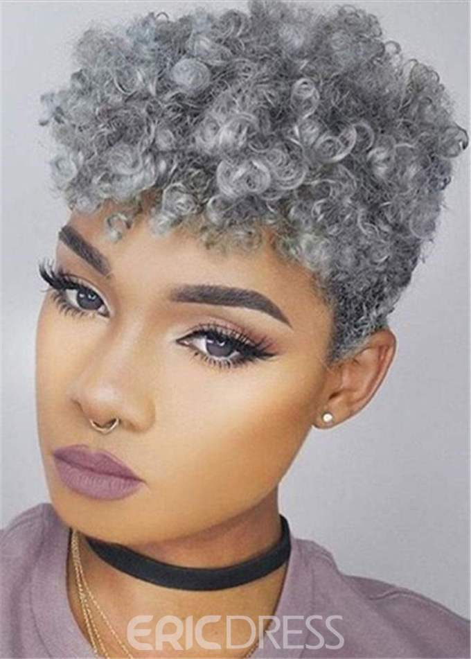 ericdress short pixie cut afro kinky curly 100% human hair capless wigs