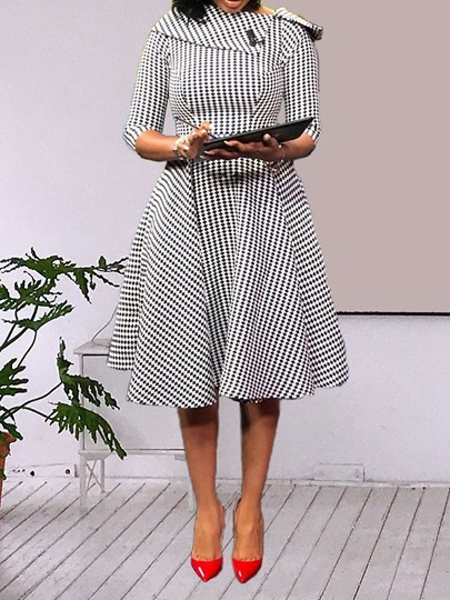 Three Quarter Sleeve Print Day Dress