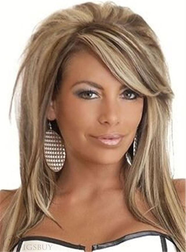 mixed color teased layered straight synthetic hair with one