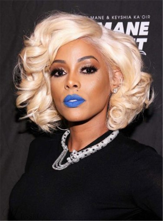 keyshia kaoir short wave synthetic capless side parting wigs