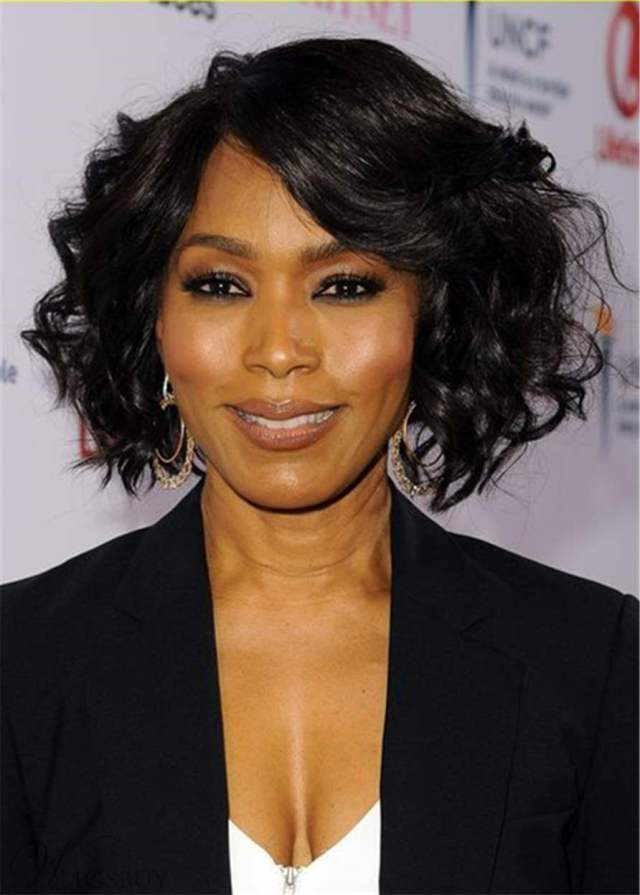 angela bassett hairsyle bob cut wavy synthetic hair wig: m