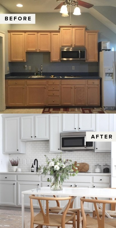 Before and after of painted kitchen cabinets via The EveryGirl