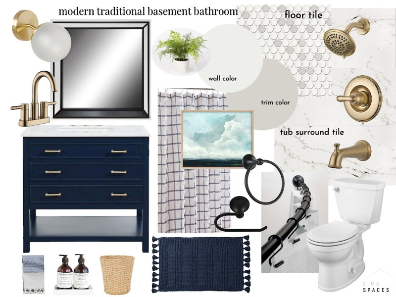 Basement bathroom moodboard: modern traditional basement bathroom by Sima Spaces