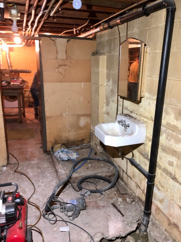 Basement bathroom, pre-renovation: Sima Spaces basement remodel, Spring 2020 ORC