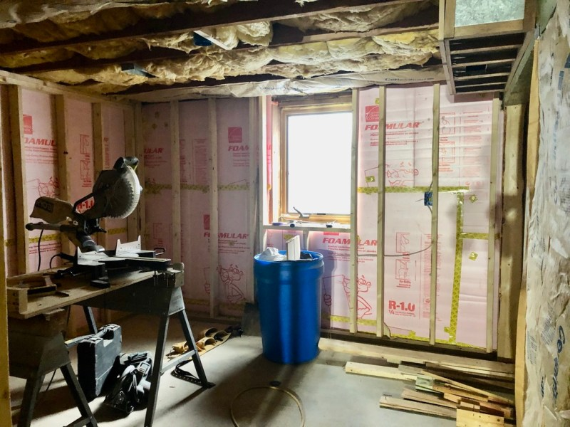 Framed, wired, and insulated basement bedroom: Sima Spaces Spring 2020 ORC