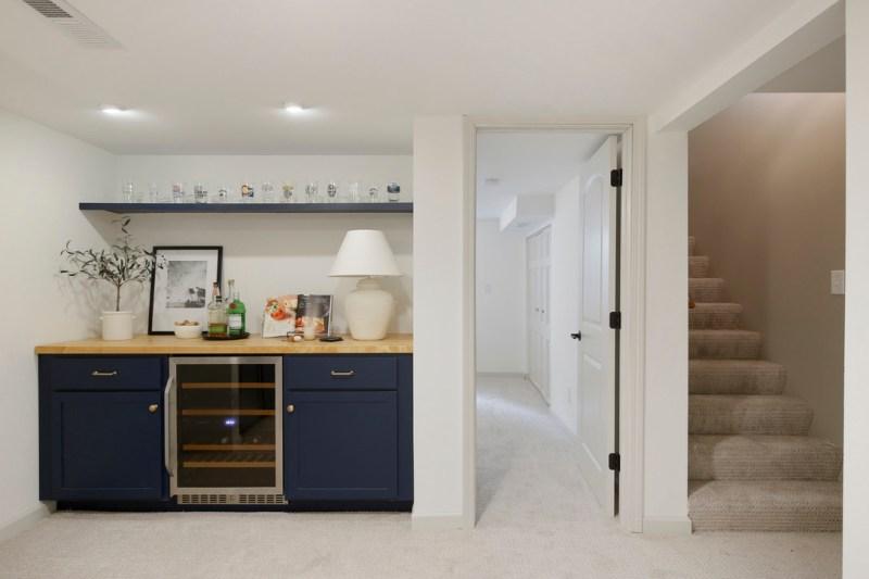 Basement builtins, basement remodel, dry bar design, Naval Builtin cabinets / Sima Spaces