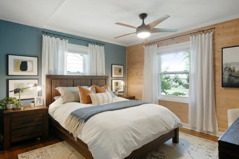Modern rustic bedroom, owner's suite, master suite, shiplap wall, cozy bedroom decor / Sima Spaces