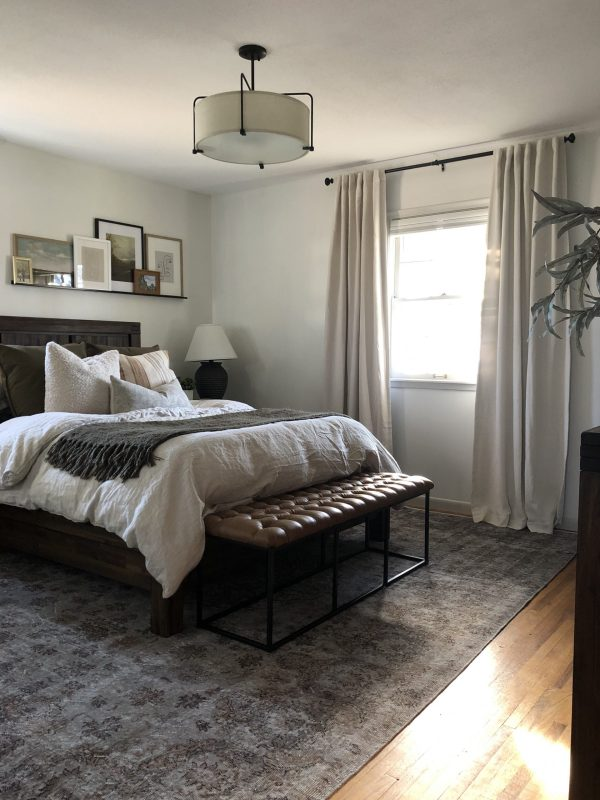 Moody modern traditional bedroom makeover // Sima Spaces