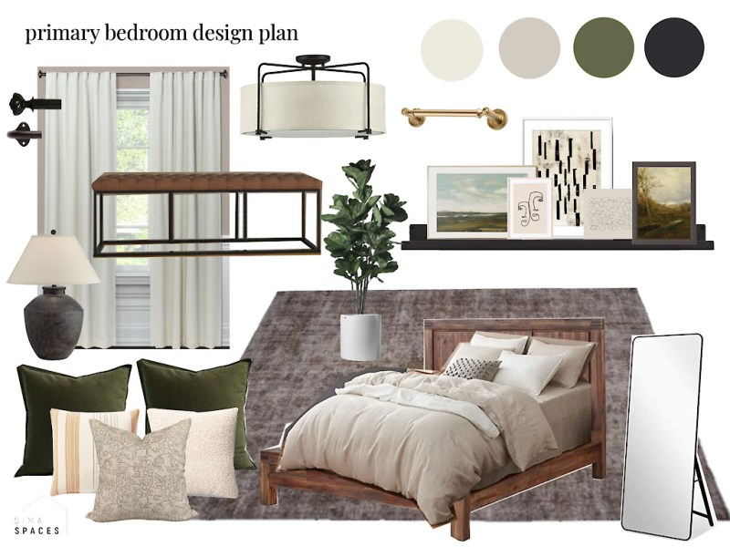 Moody modern traditional bedroom makeover design plan // Sima Spaces