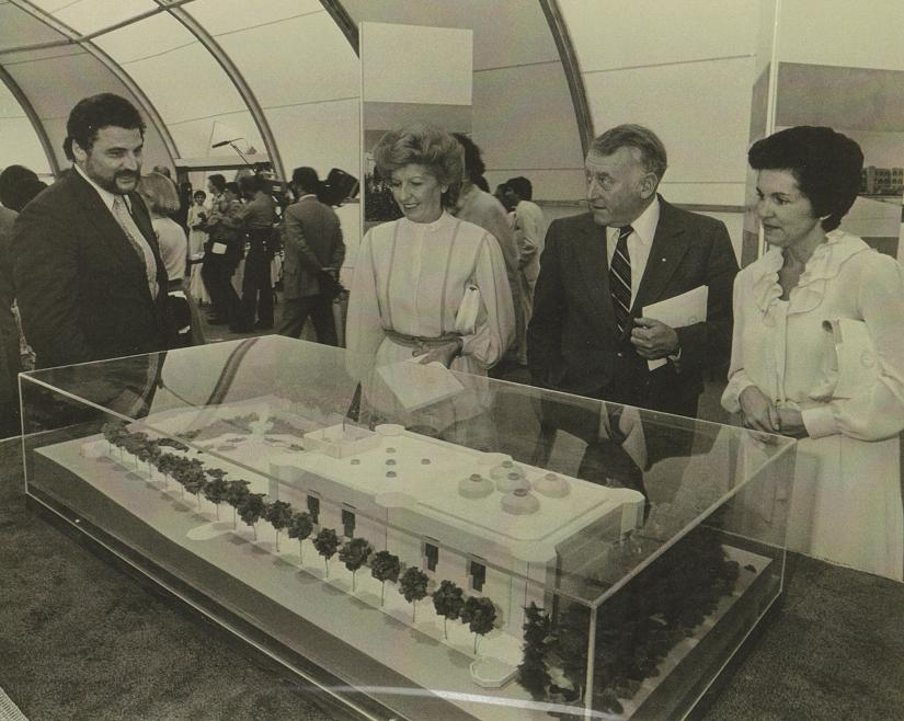 Architect Bruno Freschi at the foundation ceremony with distinguished guests, being explained the model of the Jamatkhana