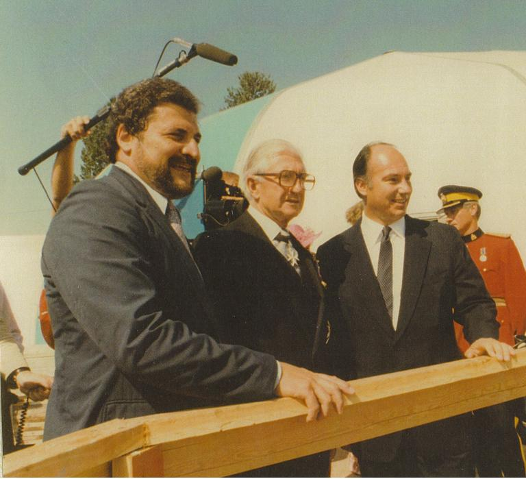 "Bruno Freschi (left) with Honourable Henry Bell-Irving and His Highness the Aga Khan. The Aga Khan in his speech said: ""The new building will face stand in strongly landscaped surroundings. It will face a courtyard with fountains and a garden. Its scale, its proportions and the use of water will serve to create a serene and contemplative environment. This will be a place of congregation, of order, of peace, of prayer, of hope, of humility, and of brotherhood. From it should come forth those thoughts, those sentiments, those attitudes which bind men together and which unite."""