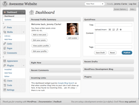 Screenshot of wp admin with light grey header and footer