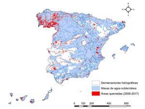 Más de 5.300 kilómetros cuadrados de aguas subterráneas, afectados por los incendios forestales