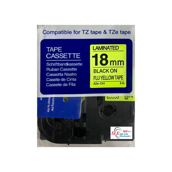 Compatible AB AZe C41 18mm Black on Flu Yellow Laminated Tape