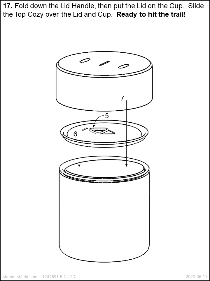 store the fuel canister upside down inside the cup