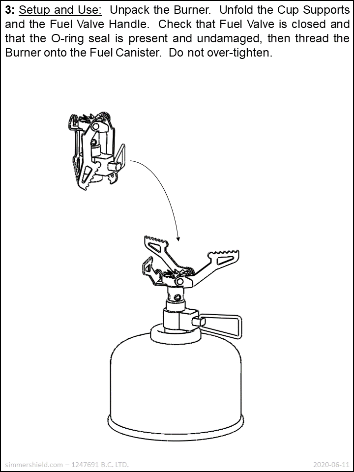 unfold burner and thread it onto fuel canister