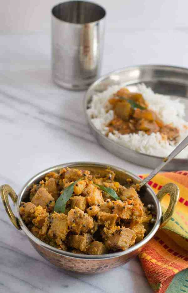 Get ready to entice your senses with this south-Indian style Kachche kele ki sabzi also called as Bare da kai ajadina (Raw banana/plantain dish) in Mangalore. Serve this simple yet flavorful dish on its own with rotis or as a side dish with rice and dal to make a light lunch or dinner.