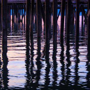 Pillars beneath the pier, summer evening light, on the end of the spit in Homer, Alaska.