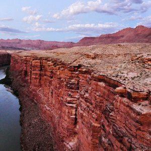 Evening comes to the Colorado River at Navajo Bridge.