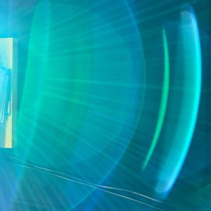 An unexpected, delightful spectrum of light from a projector when the camera catches it just right.