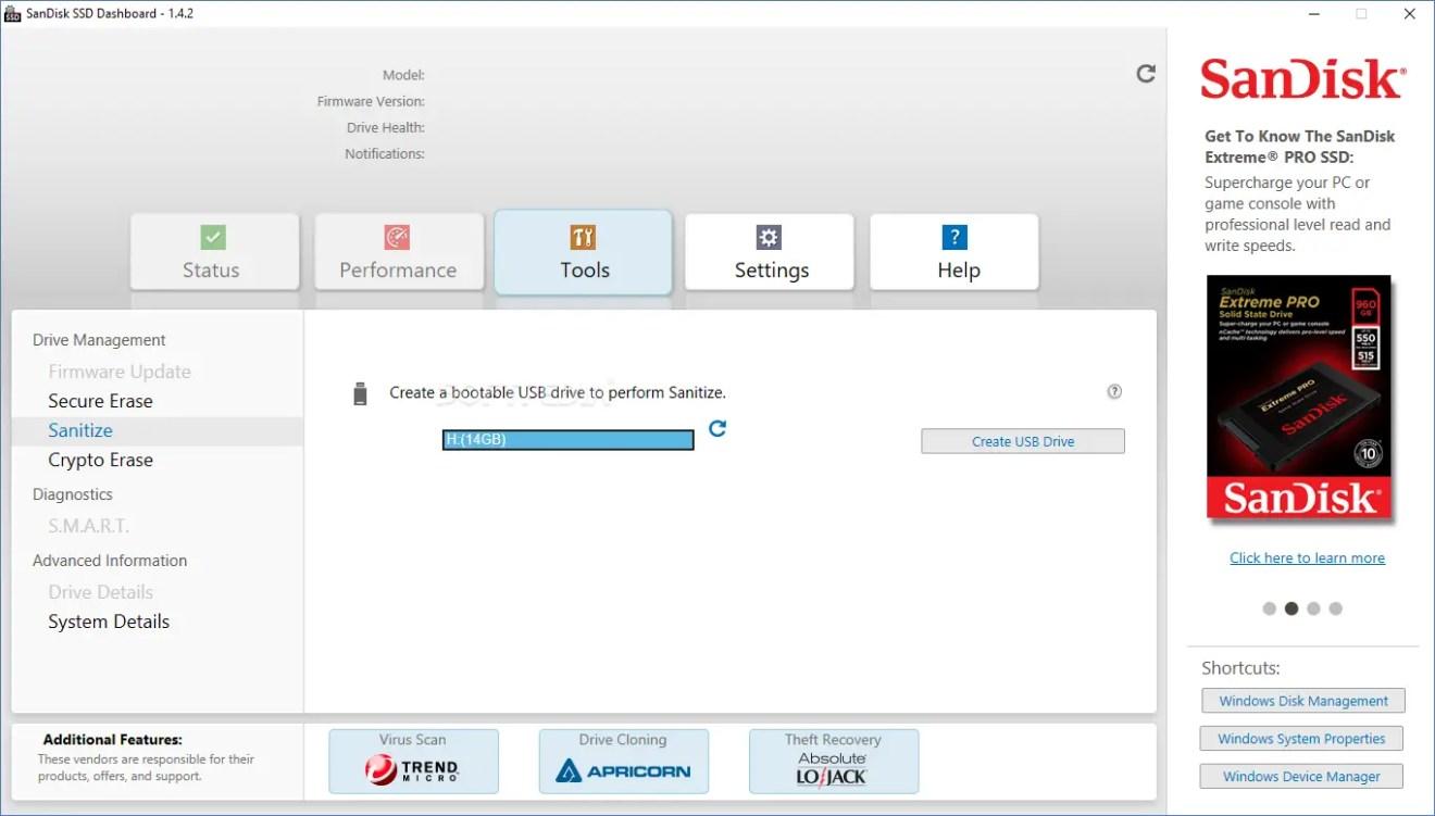 SanDisk SSD Dashboard