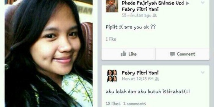 Status Facebook terakhir korban kecelakaan Tanjakan Emen Subang