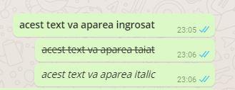 formatare text WhatsApp