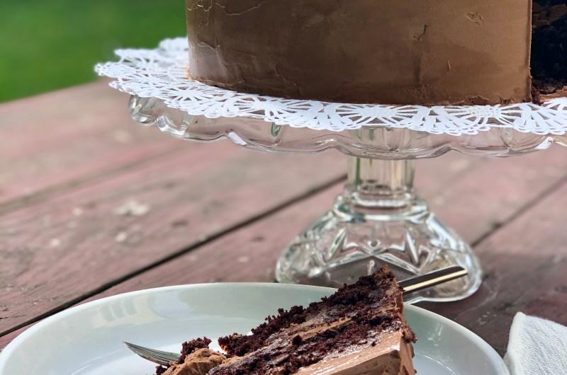 Gluten-free Chocolate Cake with Mocha Buttercream - a wedding cake