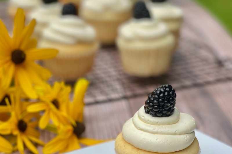 Gluten-free blackberry filled vanilla cupcakes with white chocolate frosting