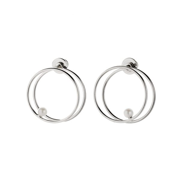 White Pearl Double Circle Earrings