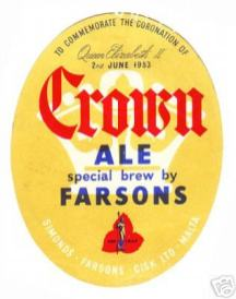 Beermat Farsons Crown Ale 1953