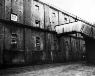 Concrete warehouse from gas lane