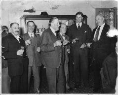 Pensioners dinner, AJ Everett, DA Shepherd, AW Bowyer, W Bradfo