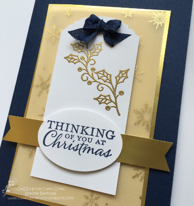 Embellished Ornaments stamp set by Stampin' Up! - Gold and navy. Created by Simone Bartrum for CTC 60.