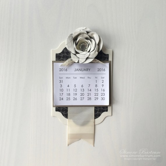 Another great Mini Calendar project. This one uses framelits and dies to create a fridge magnet calendar. Cute! From www.simonebartrum.com