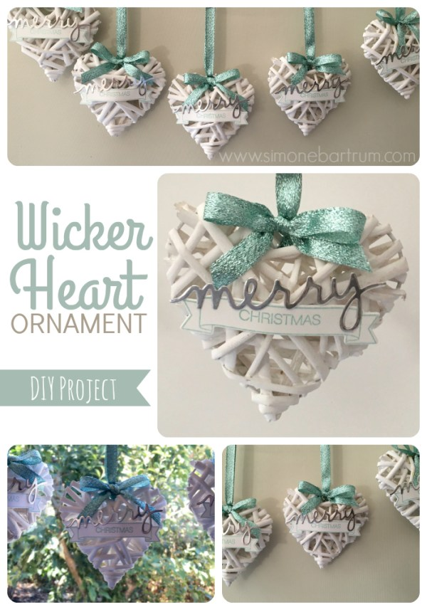 Wicker Heart Ornaments, made from a garland of woven wicker hearts from Kmart. See Wicker hearts ornament. For details visit http://simonebartrum.com/cards/diy-project-wicker-ornament/ for more info.
