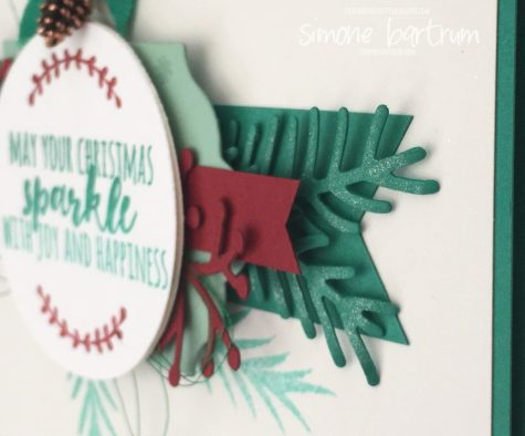 Wink of Stella highlighting the pines leaves on this card featuring Christmas Pines (by Stampin' Up!)