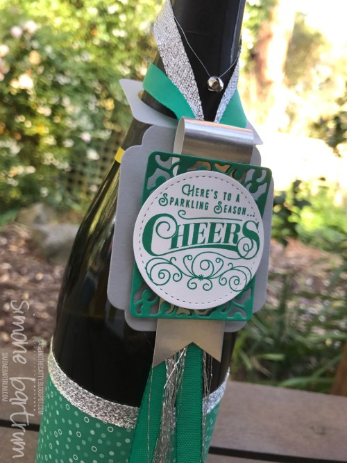 Here's to a Sparkling Season - bottle tag. www.simonebartrum.com