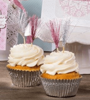 Fringed glitter ribbon cupcake toppers