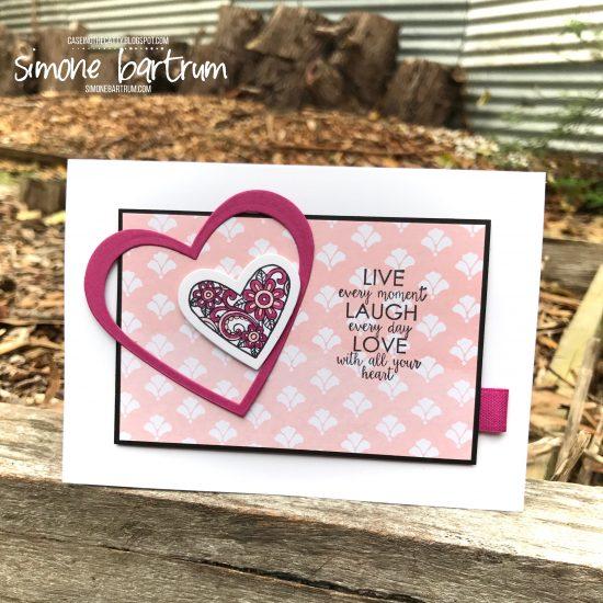 Ribbon of Courage hearts card. www.simonebartrum.com