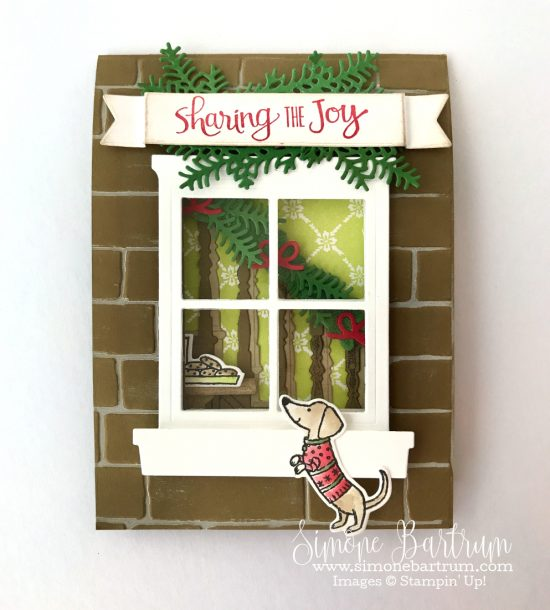 Stampin' Up! staircase: Ready For Christmas bundle meets Hearth & Home bundle, to create an adorable double front card. From www.simonebartrum.com. Stampin' Up! 2017 Holiday Catalogue Sneak Peek.