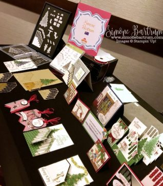 Stampin' Up! staircase: Ready For Christmas stamp set and Christmas Staircase framelit dies. Simone Bartrum's display for the Thailand Incentive Trip - Share Fair presentation.