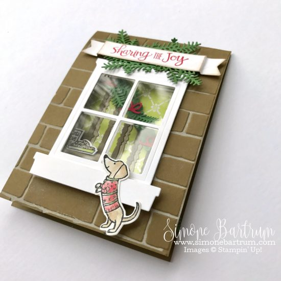 Stampin' Up! staircase: Ready for Christmas stamp set and Christmas Staircase Thinlits dies (available as a bundle in the 2017 Stampin' Up! holiday catalogue), meet Hearth & Home dies.